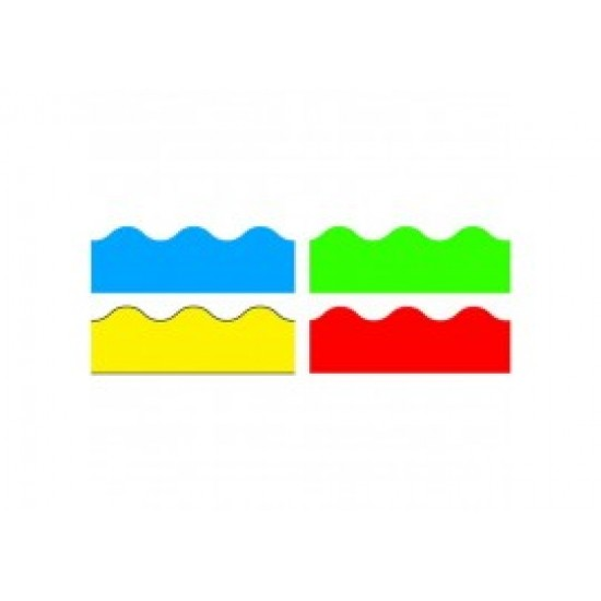 Bright Colours Variety Pack of 4 Scalloped Borders Blue Red Green Yellow