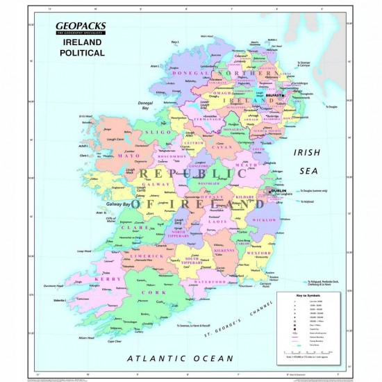 Ireland Wall Map for Schools - Reversible
