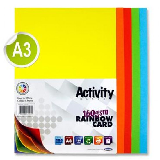 A3 160gsm Card 200 Sheets - Rainbow Card & Paper