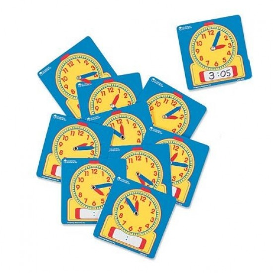 LER 0572 Wipe-Clean Student Clocks (Set of 10) Classroom Resources