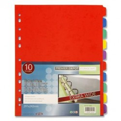 PREMIER DEPOT EXTRA WIDE SUBJECT DIVIDERS - 10 PART