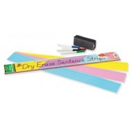"Dry Erase Sentence Strips, 3"" x 24"" Assorted, Ruled,"