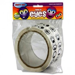 Crafty Bitz Roll 1000 Stickers - B/W Eyes