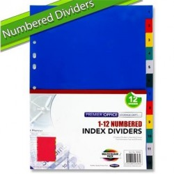 A4 1-12 Numbered Subject Dividers
