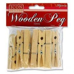 ICON CRAFT PKT.20 72mm WOODEN PEGS