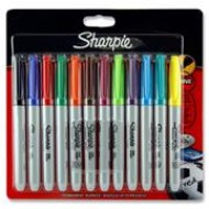 Mixed Coloured Sharpies wallet 12 fine markers