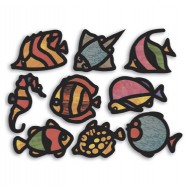 R52087 Tropical Fish Stained Glass Frames pack 24