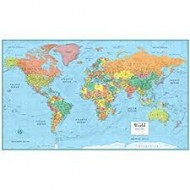 WORLD WALL MAP FOR SCHOOLS - REVERSIBLE Size 81 x 128cm